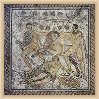 Pula - archeologické muzeum, mozaika na podlaze