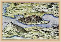 Osor na staré mapě